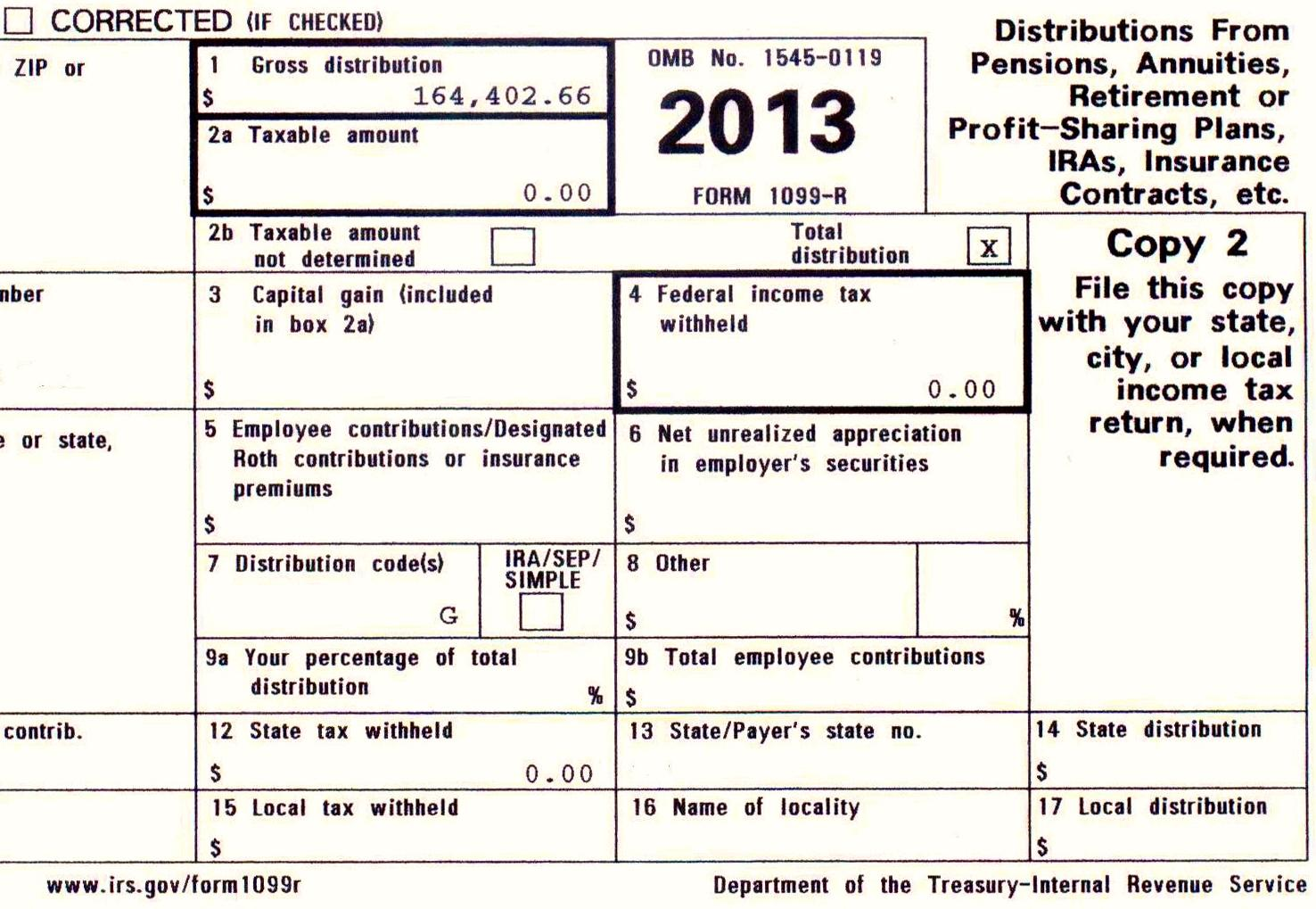 1099 R Fillable Form