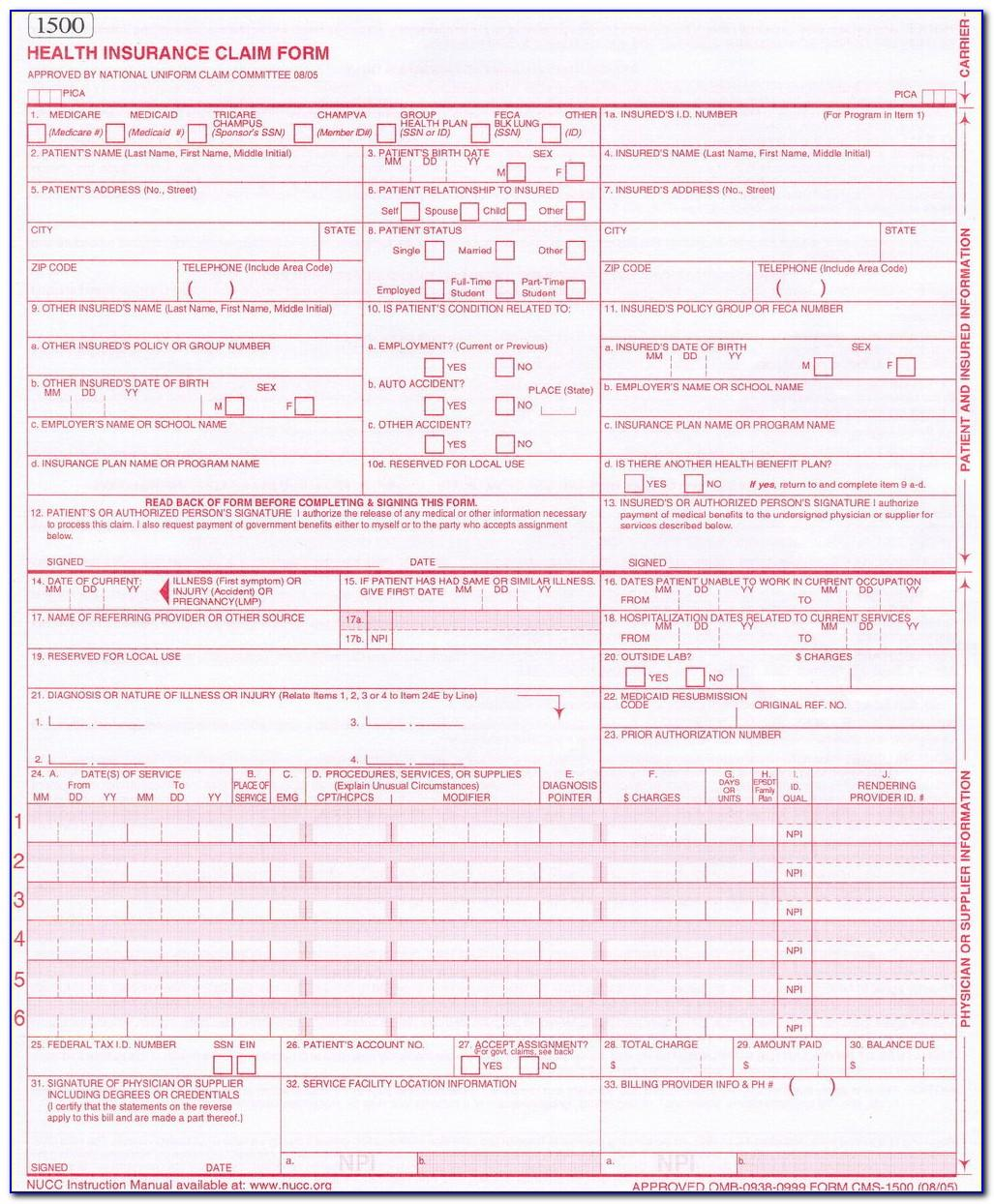 1500 Health Insurance Claim Form Cpt Hcpcs