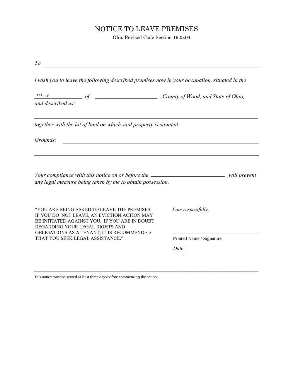 3 Day Eviction Notice Form Mississippi