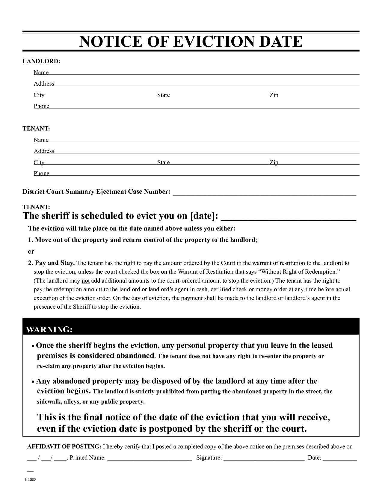 30 Day Eviction Notice Form Missouri