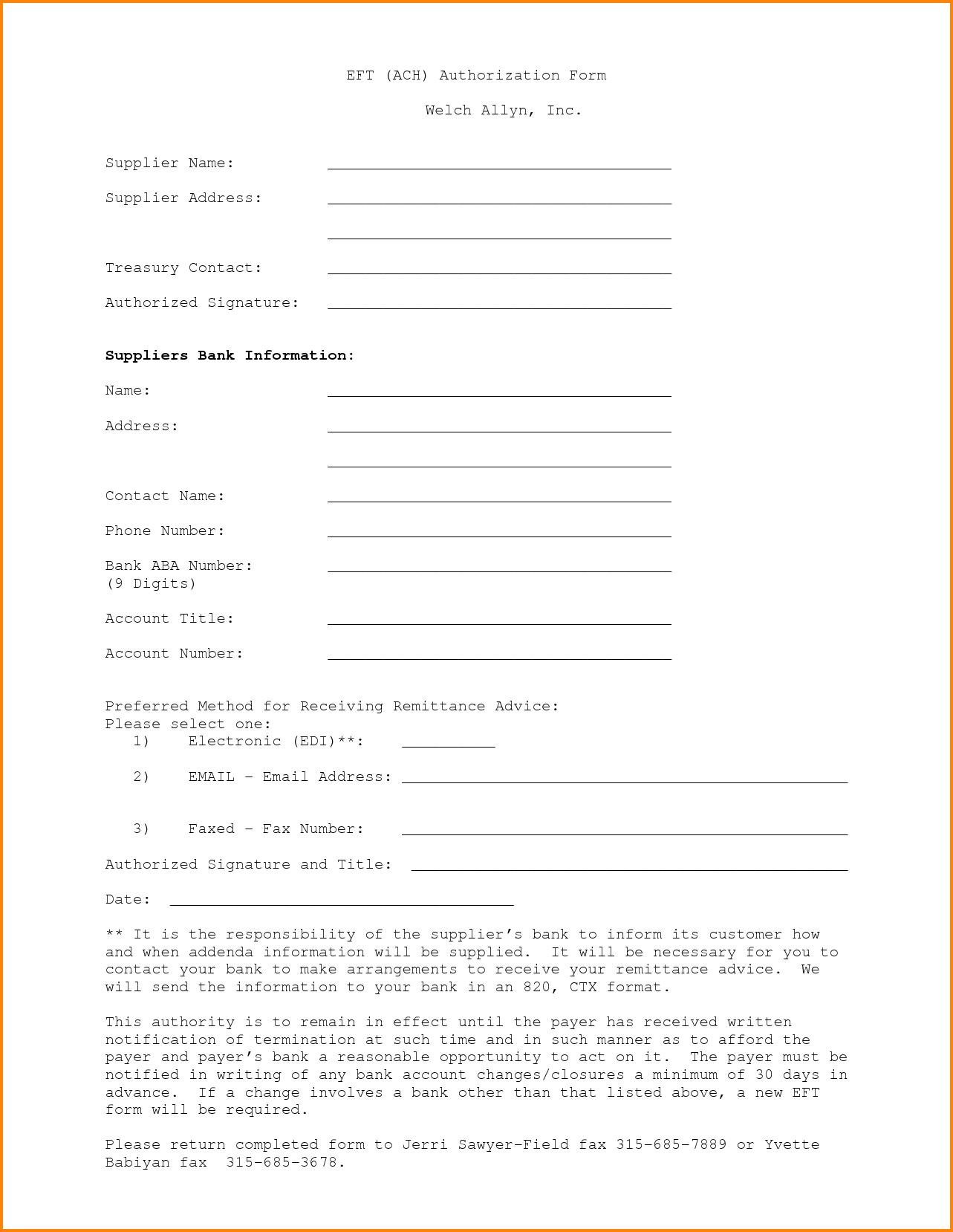 Ach Authorization Form Bank Of America