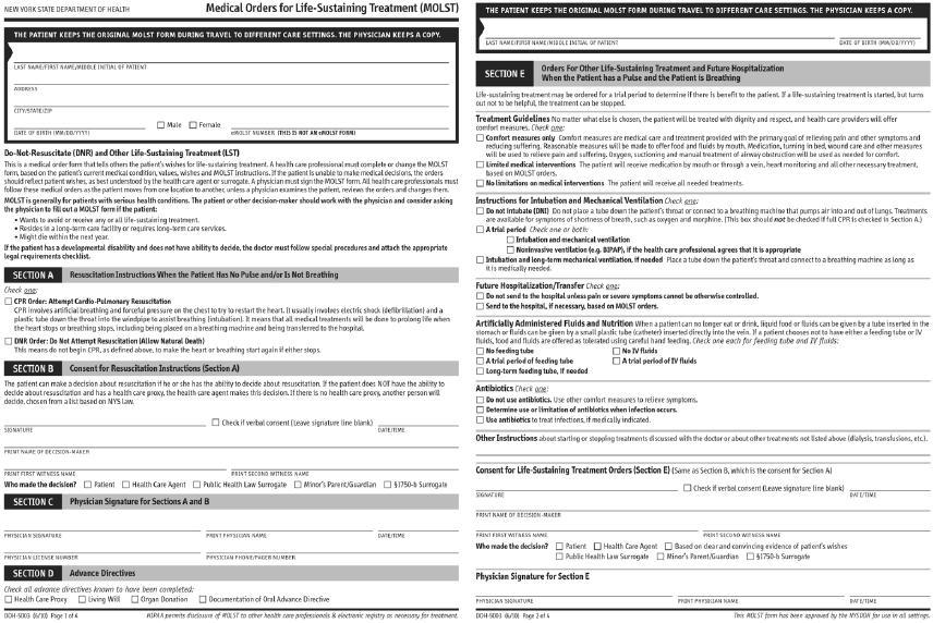 Advance Healthcare Directive Form New York