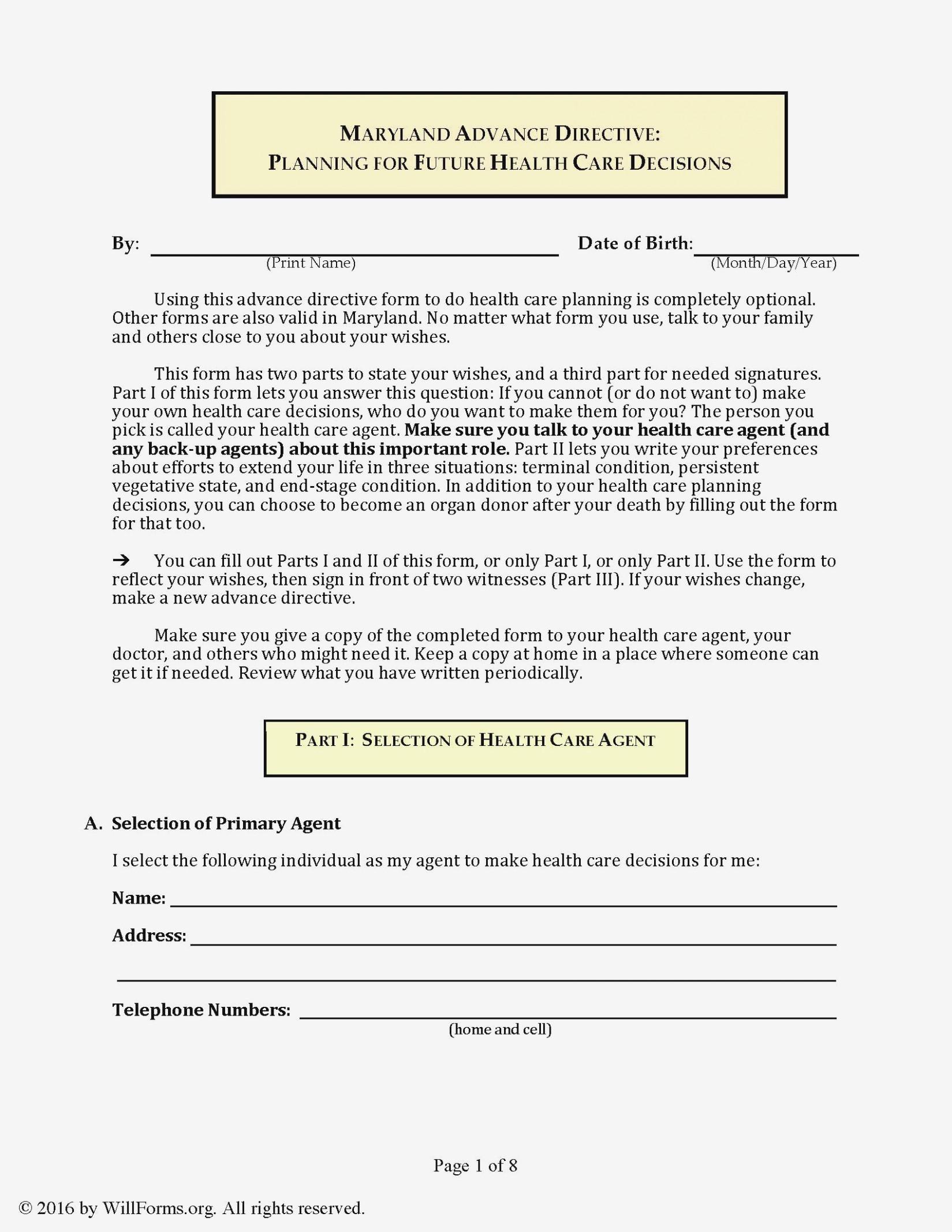 Advance Healthcare Directive Form Ohio