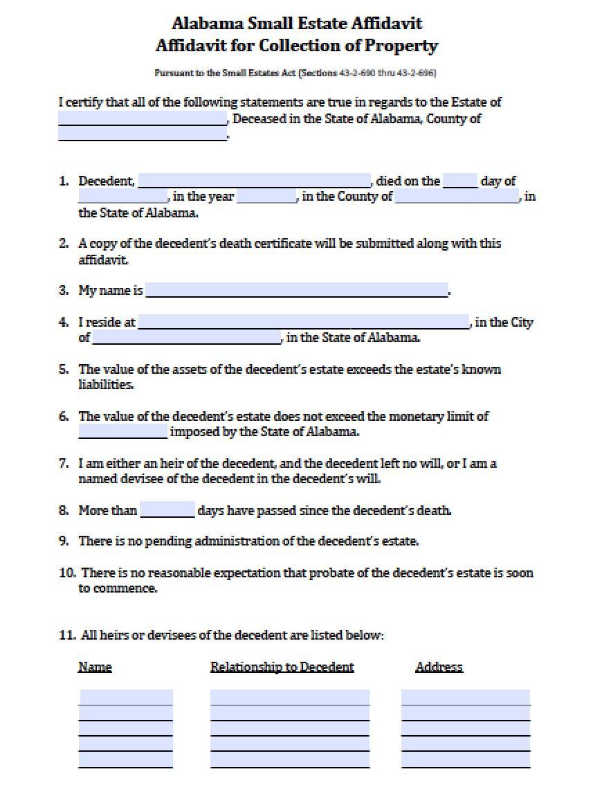 Affidavit Of Heirship Form Alabama
