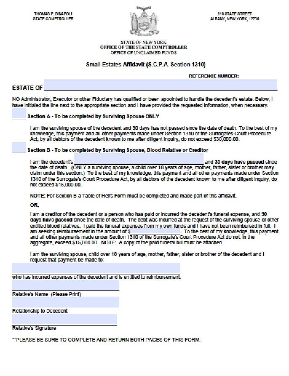 Affidavit Of Heirship Form Ny