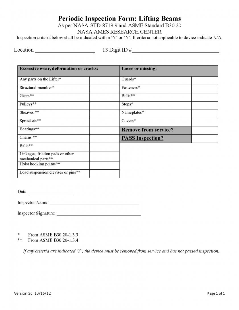 Annual Ladder Inspection Form