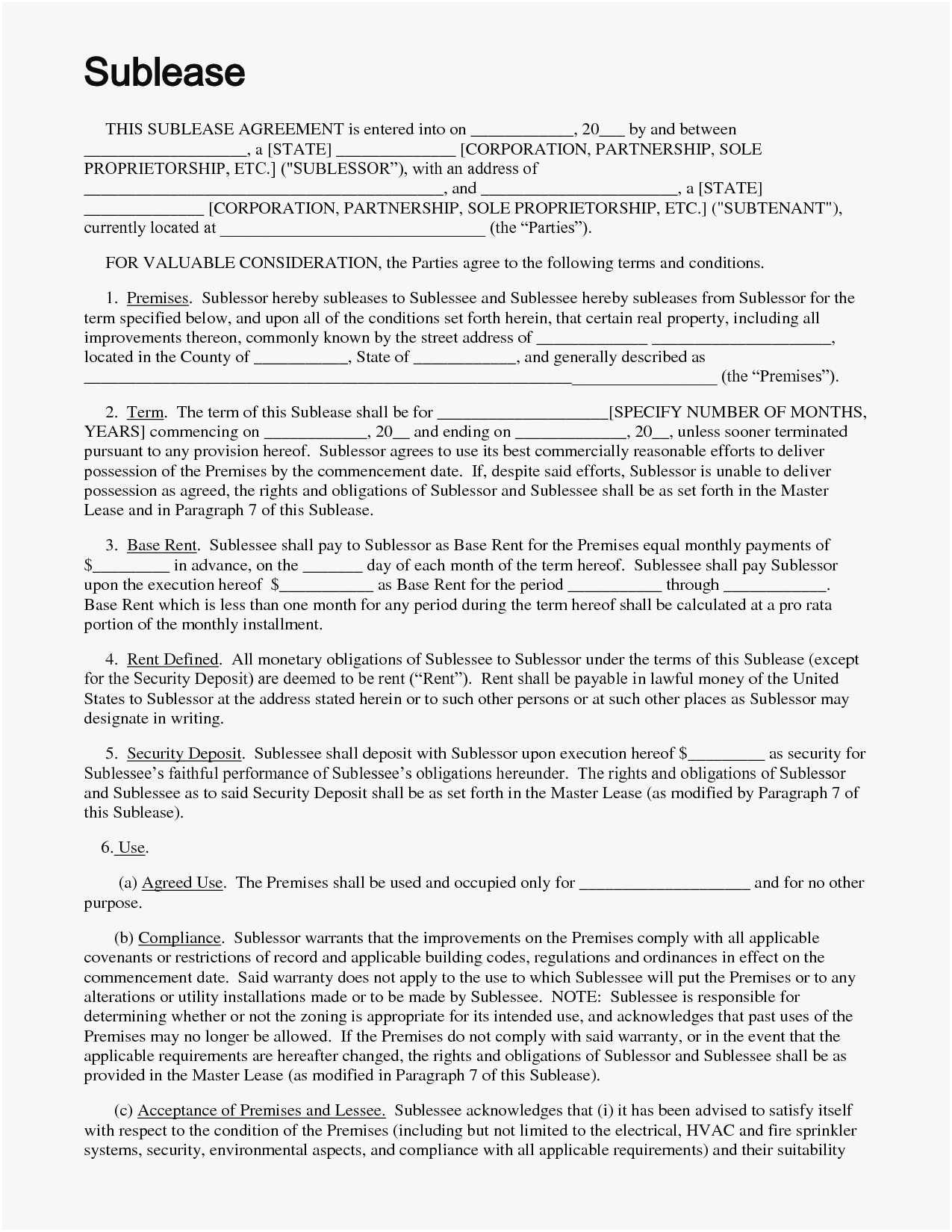 Apartment Sublet Agreement Form
