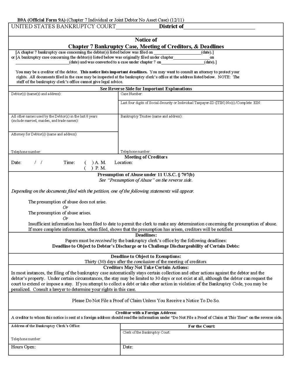 Bankruptcy Chapter 7 Forms California