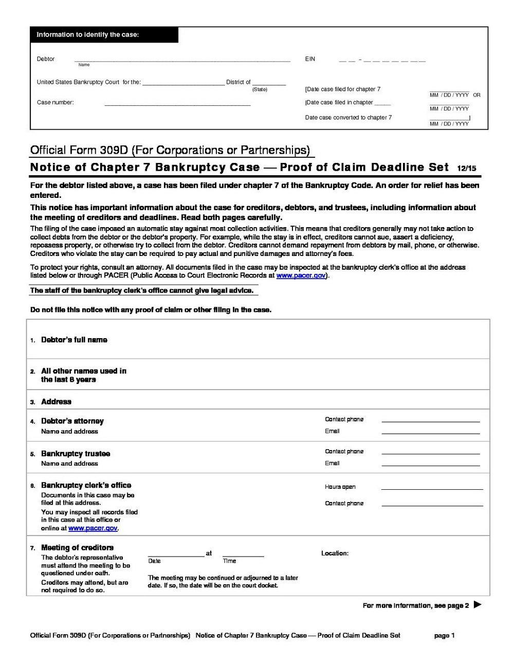 Bankruptcy Chapter 7 Forms Ohio