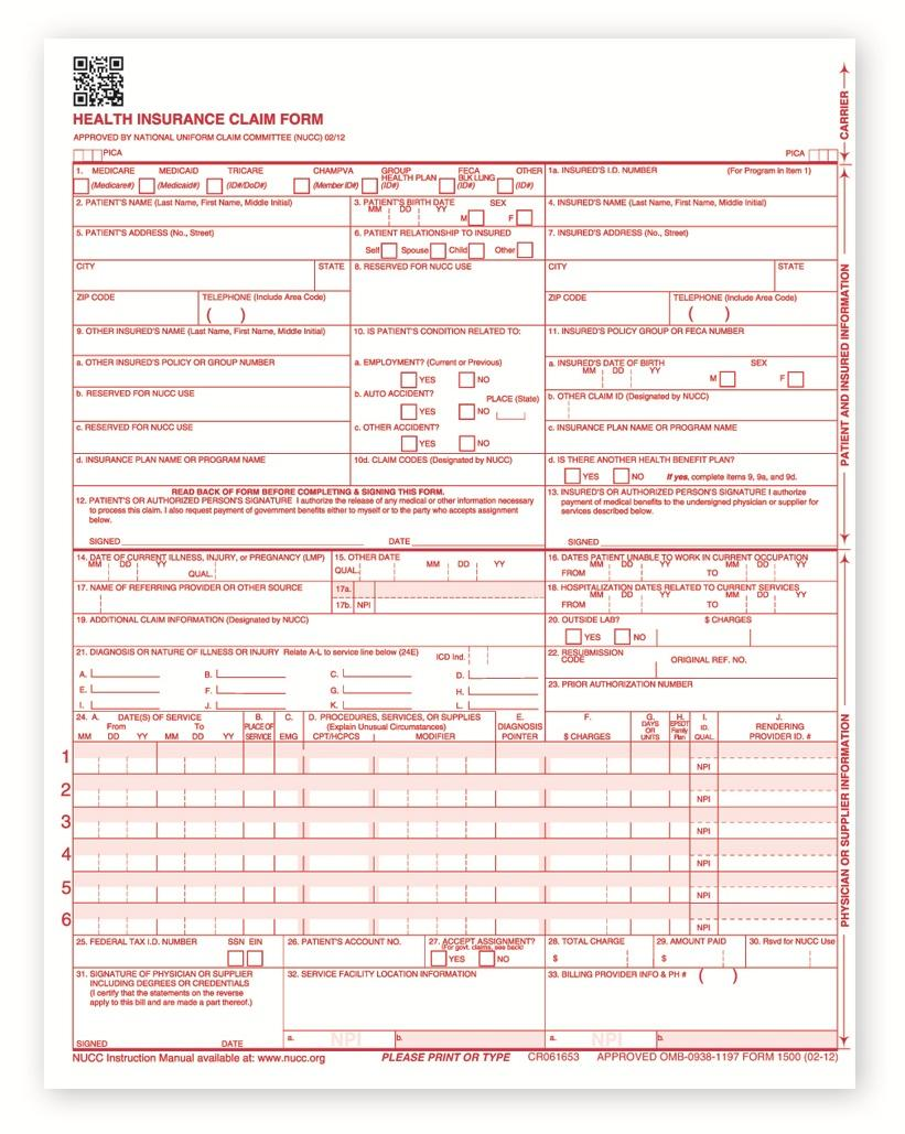Blank Cms 1500 Form Download