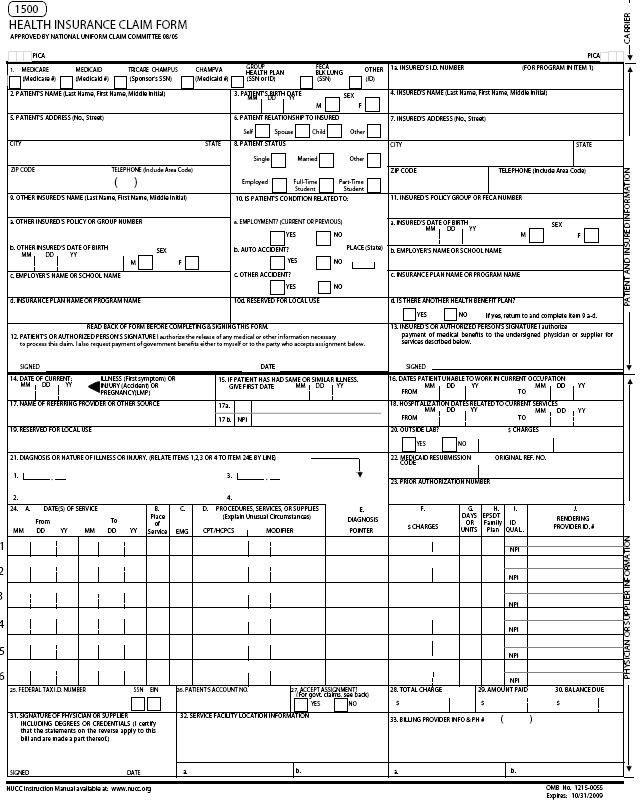 Blank Hcfa 1500 Form Free Download