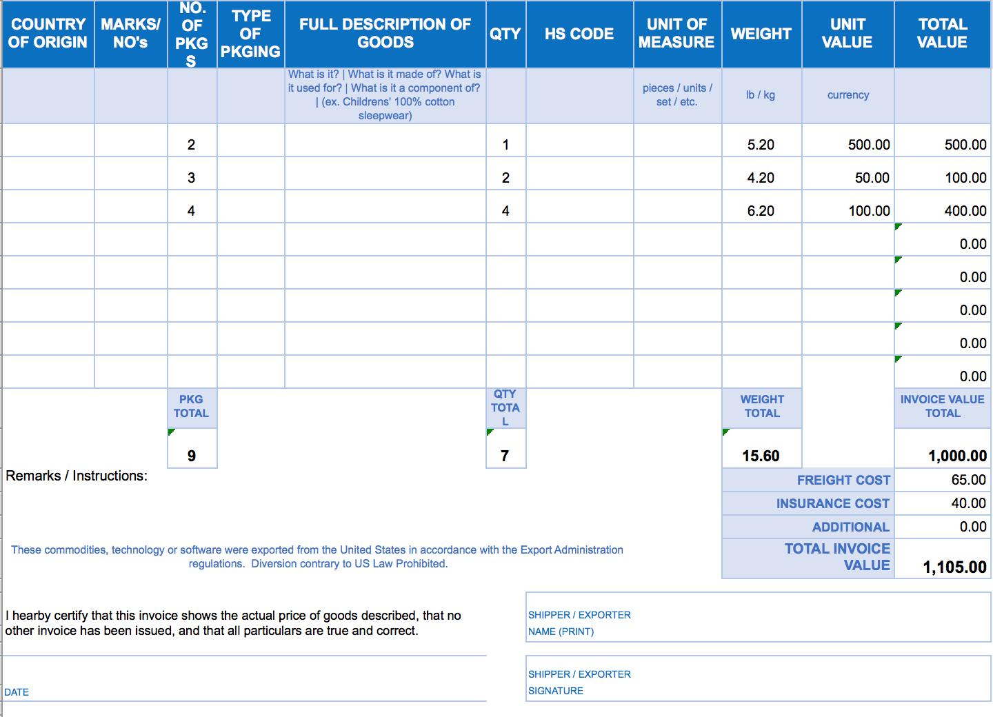 Blank Invoice Forms Download