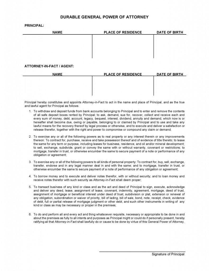 Blank Power Of Attorney Form Nevada