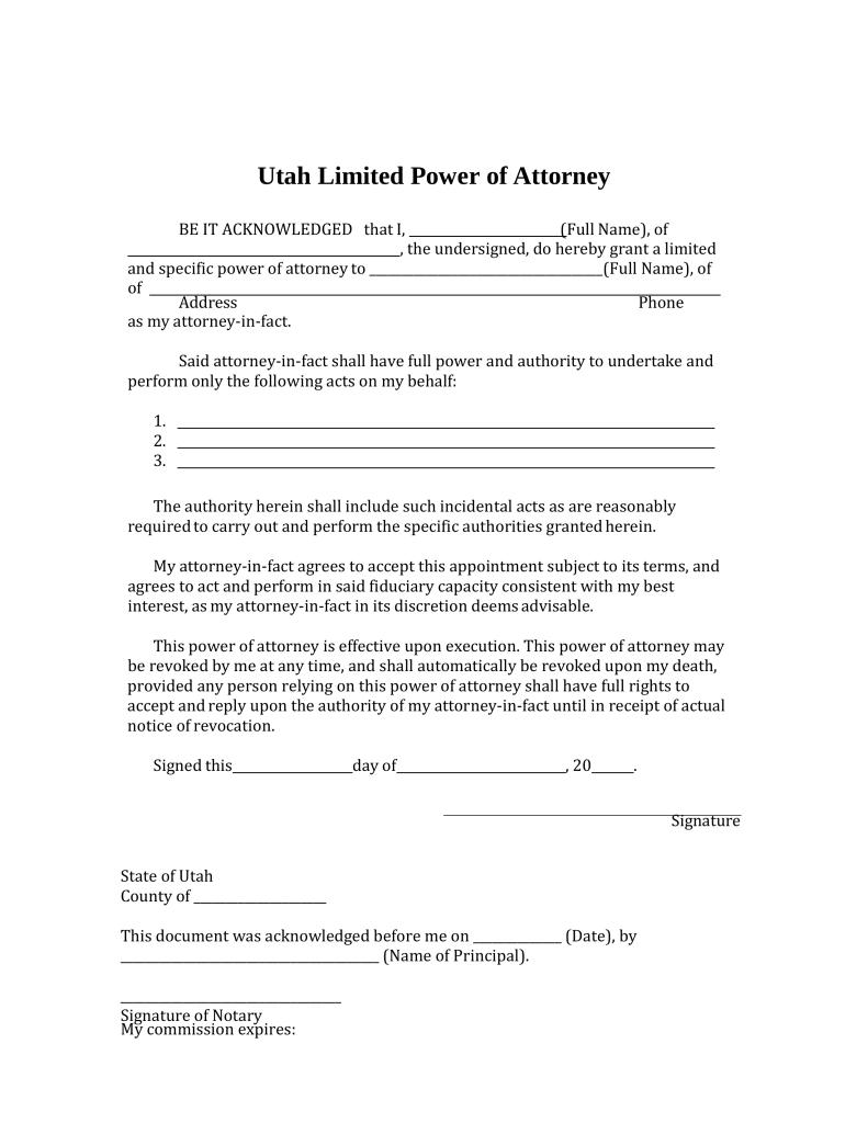 Blank Power Of Attorney Form Utah