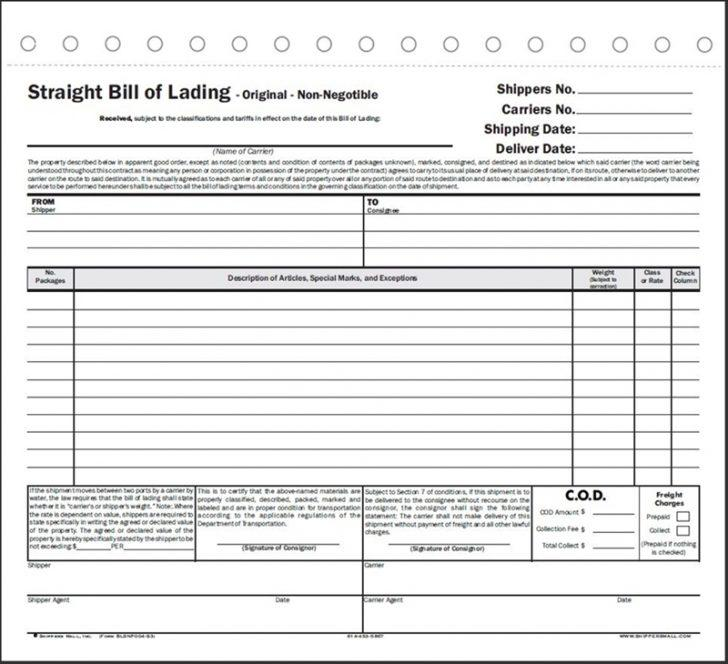 Central Transport Straight Bill Of Lading Short Form