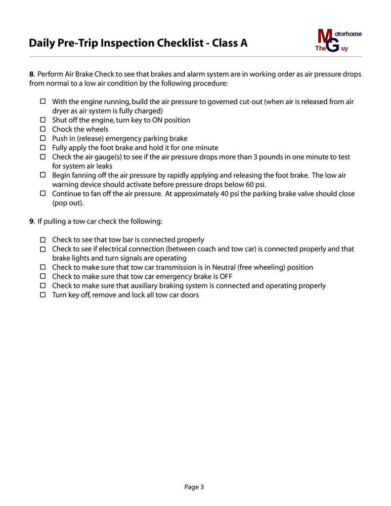 Class B Cdl Pre Trip Inspection Checklist Form Texas