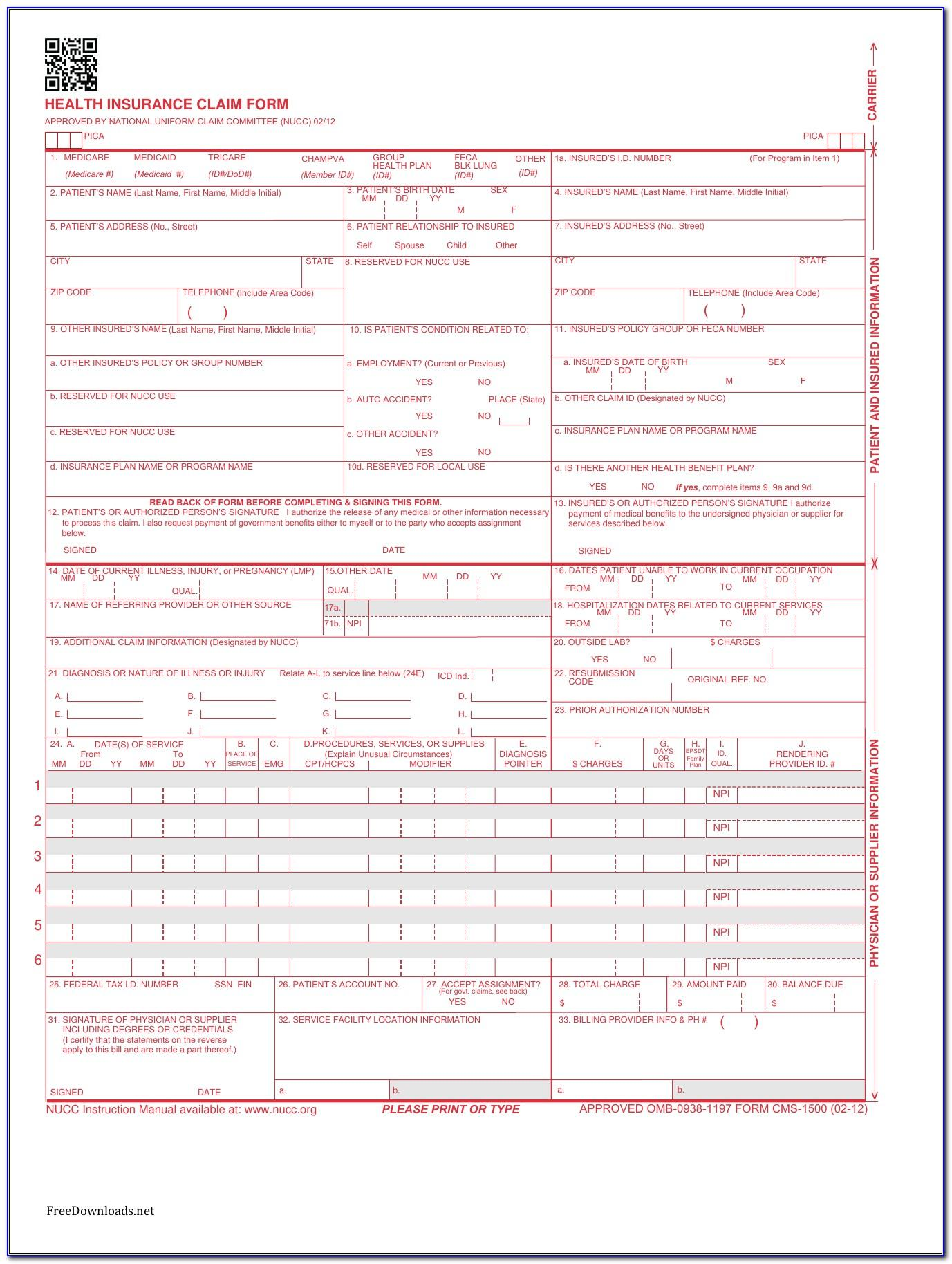 Cms 1500 Claim Form Free Download