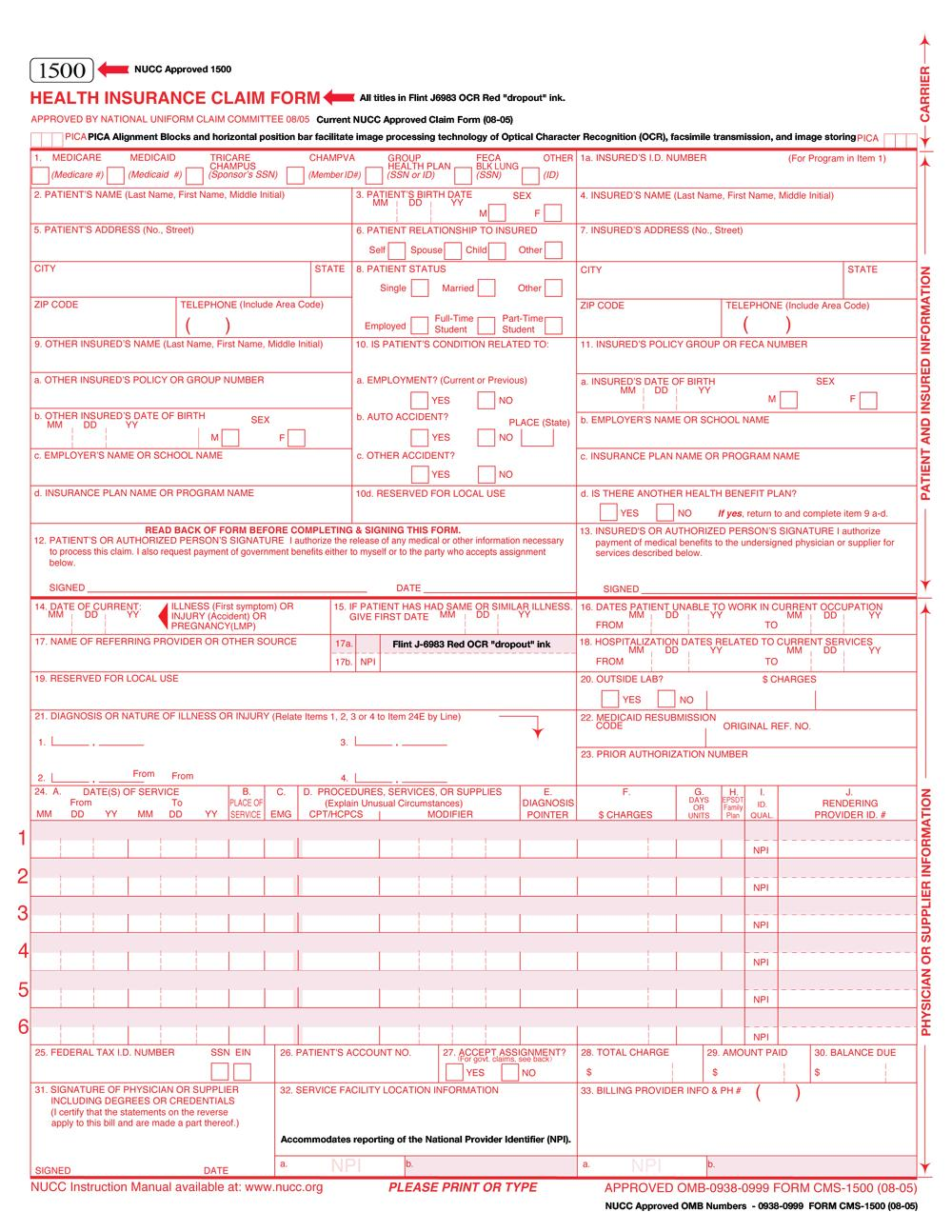 Cms 1500 Form 212 Instructions