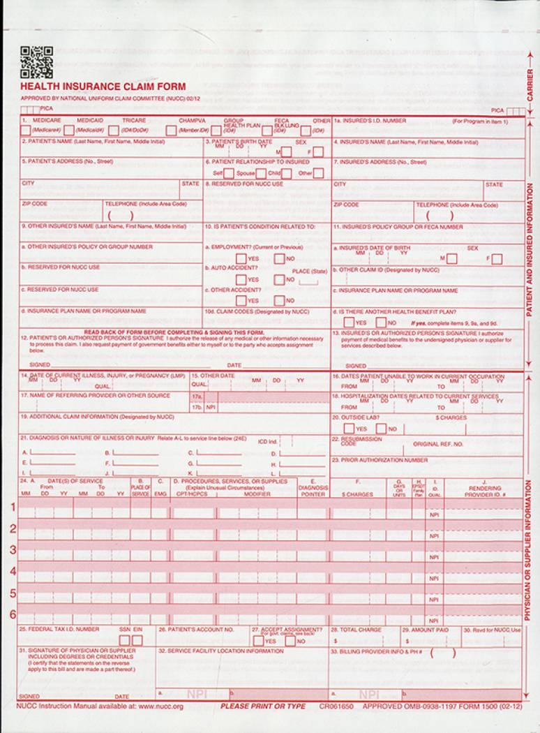 Cms 1500 Form Filling Instructions