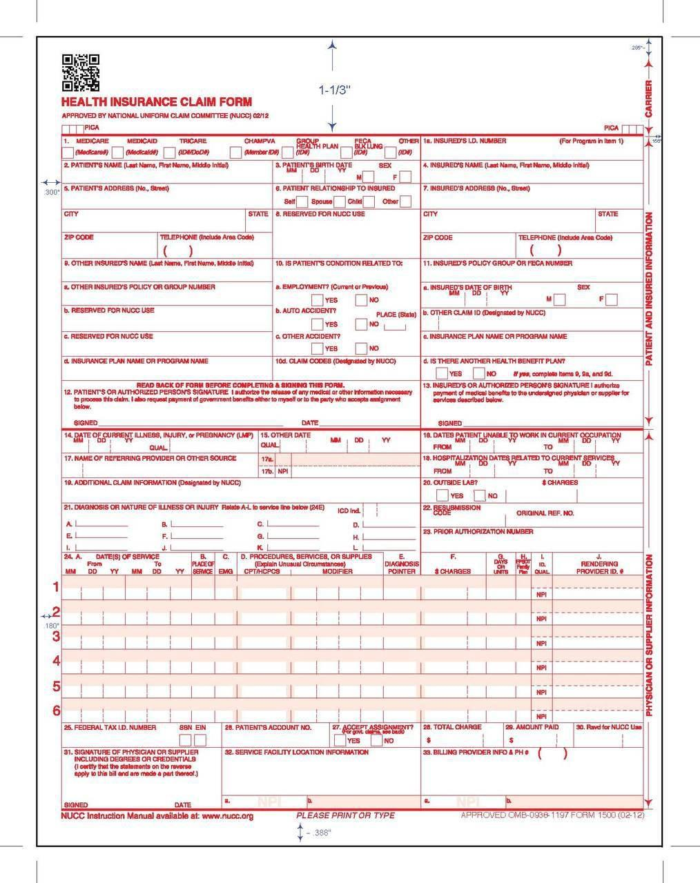 Cms 1500 Form Instructions 2018