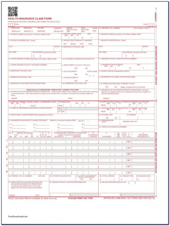 Cms 1500 Health Insurance Claim Form (02 12) Version