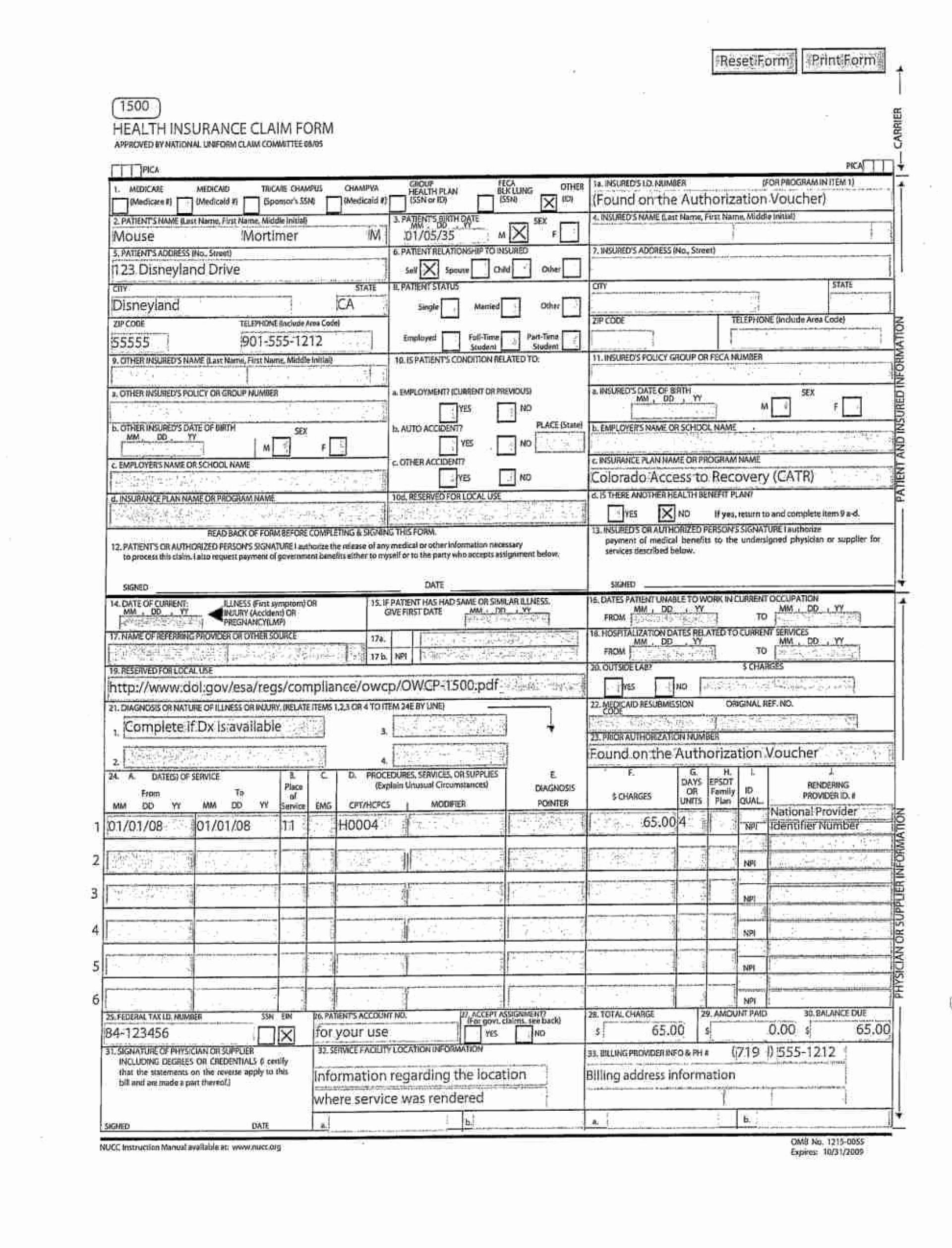 Cms Form 1500 Template