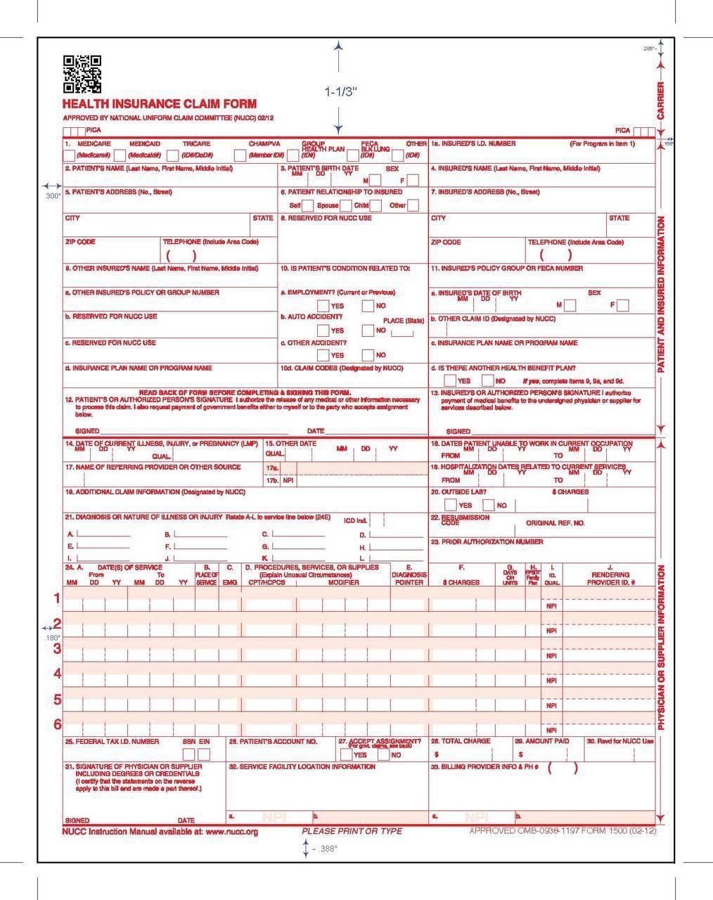 Cms Form 1500 Version 0212 Instructions