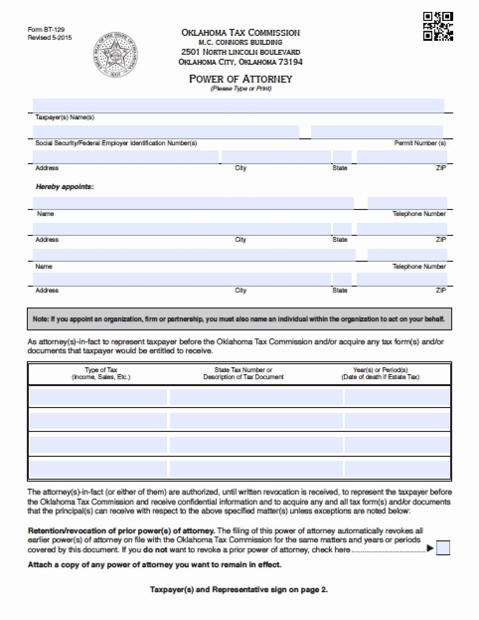 Durable Power Of Attorney Forms Oklahoma