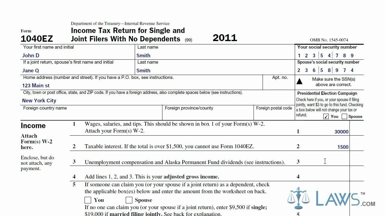 Fed Income Tax Ez Form
