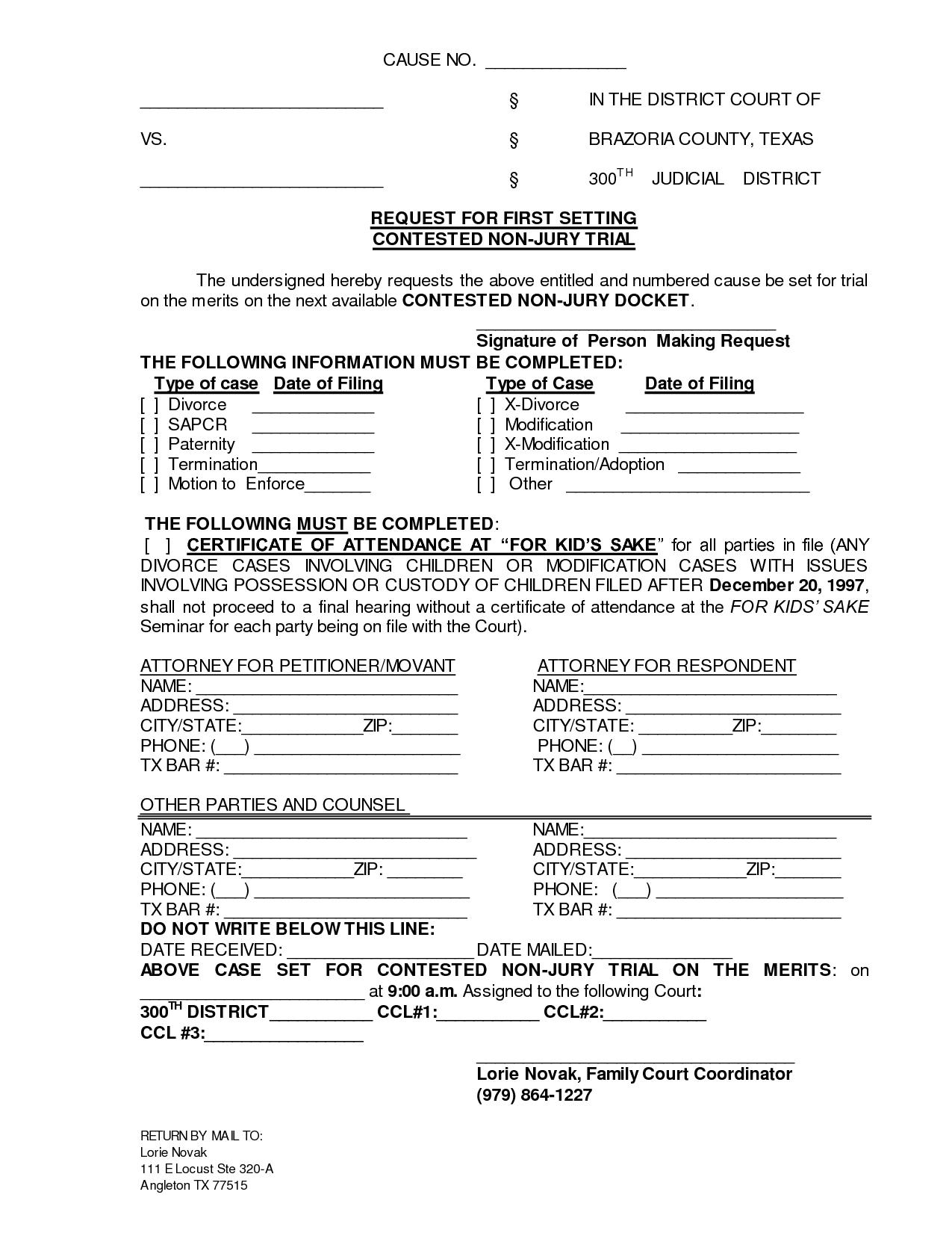 Filing For Divorce In Texas Free Forms