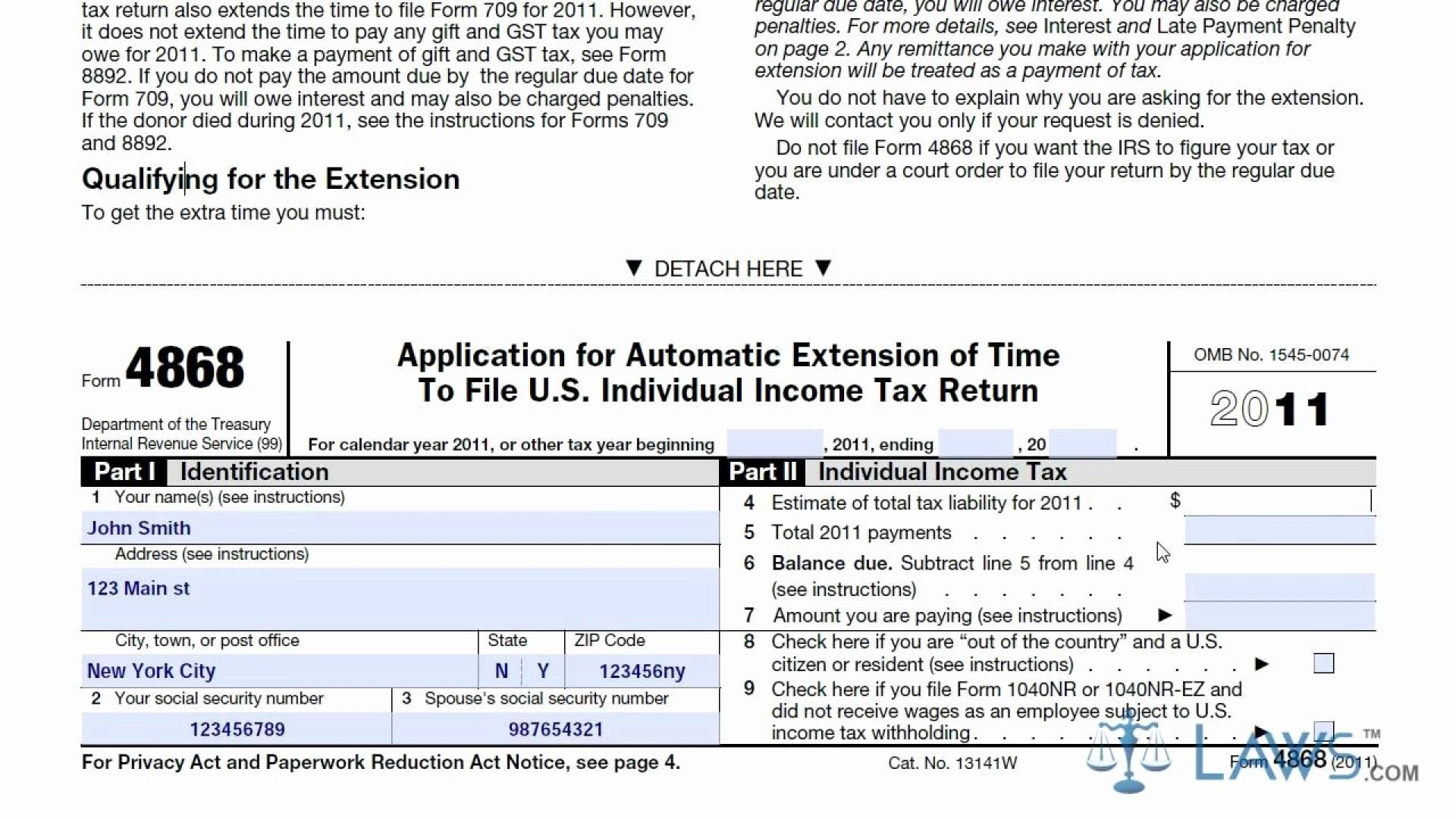 Fill Out Form 4868 Online