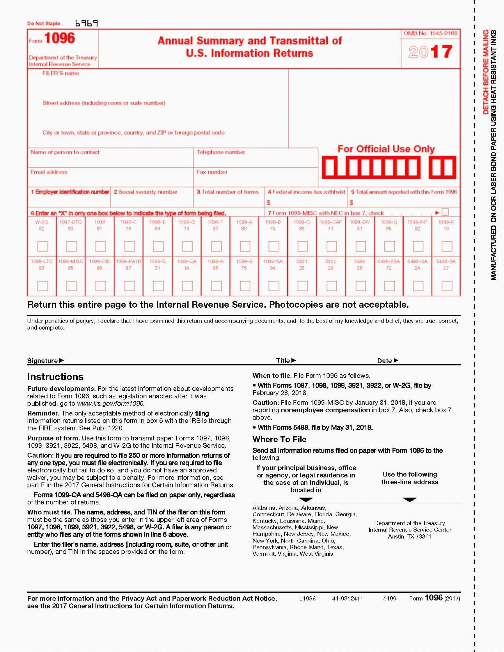 Fillable 1099 Form 2017 Irs