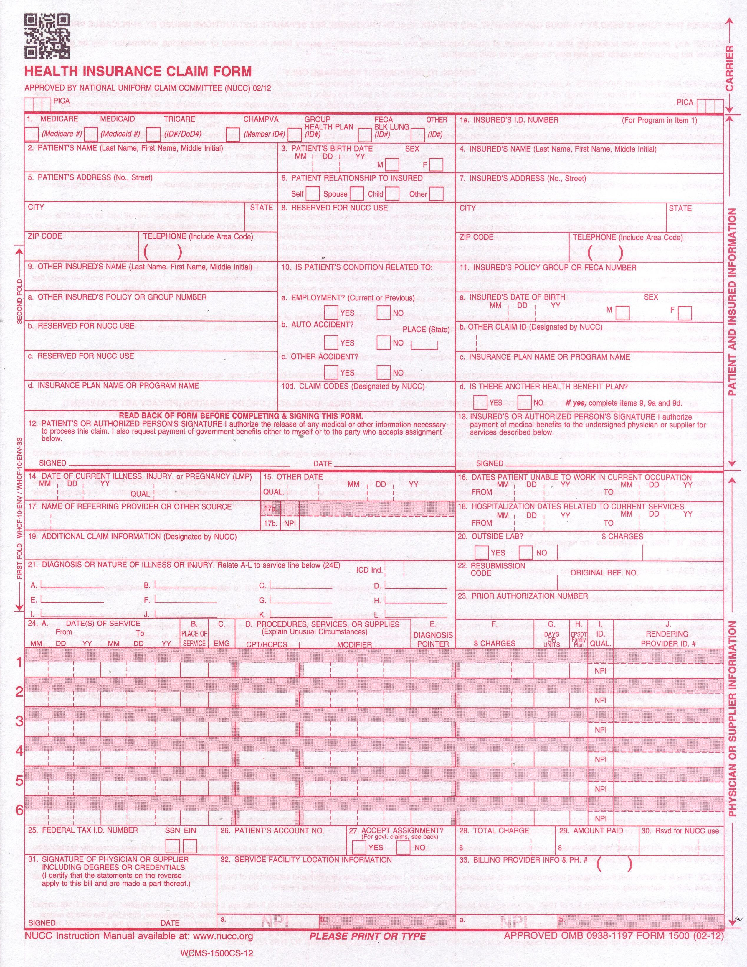 Fillable Cms 1500 Forms