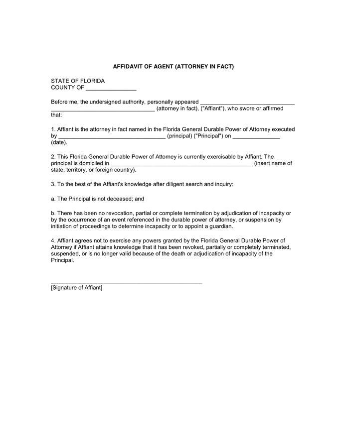 Florida Durable Power Of Attorney Form Word