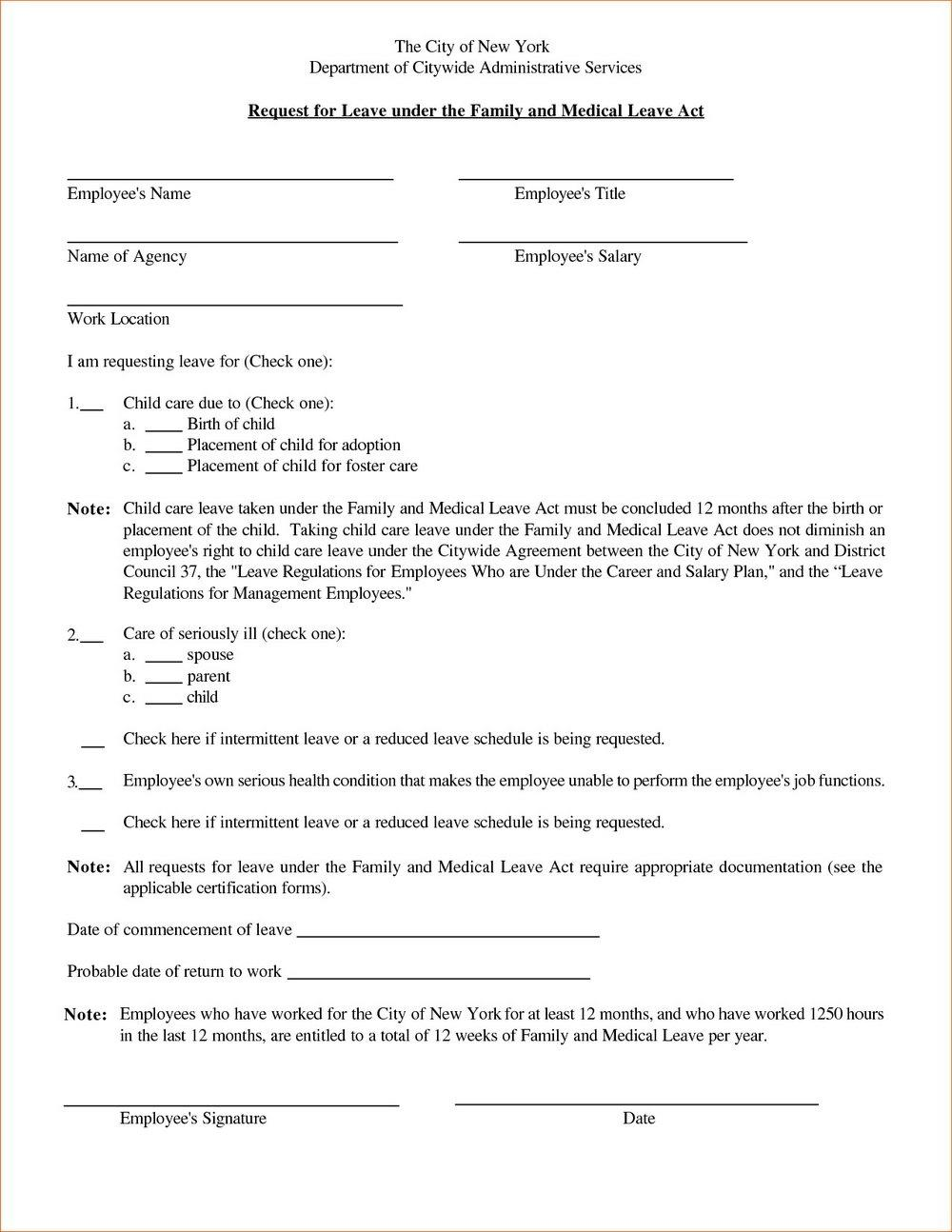Fmla Printable Forms For Maternity Leave