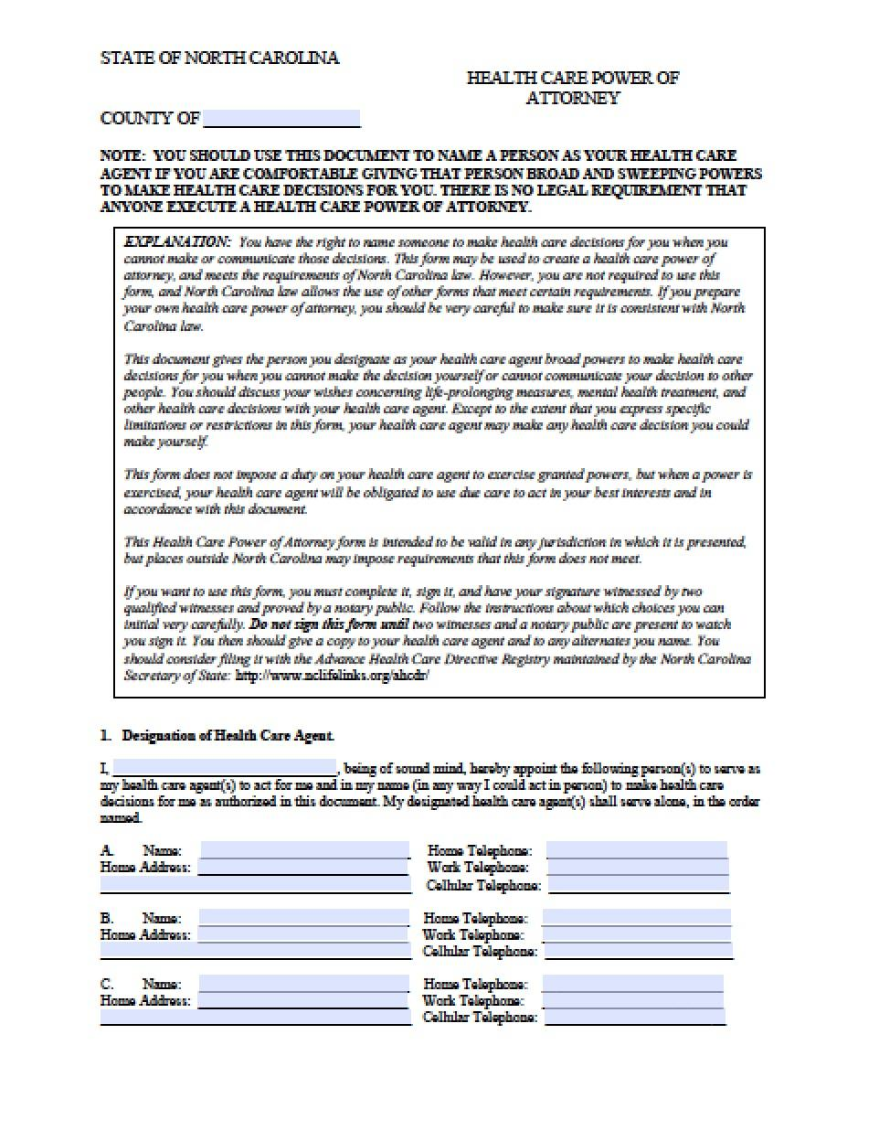 Free Durable Power Of Attorney Form Nc