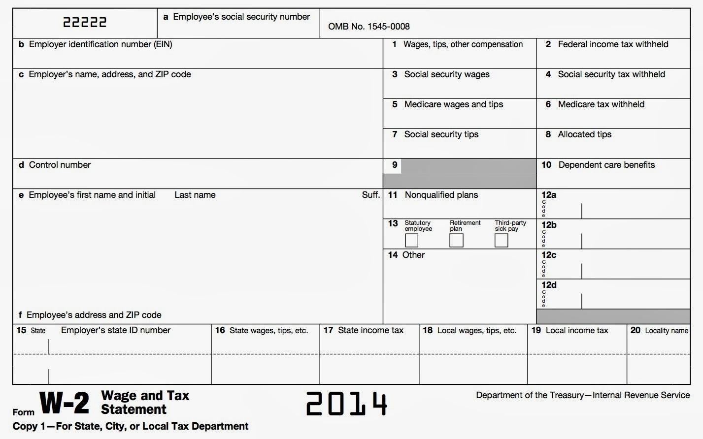 Free Printable Blank W2 Form 2014