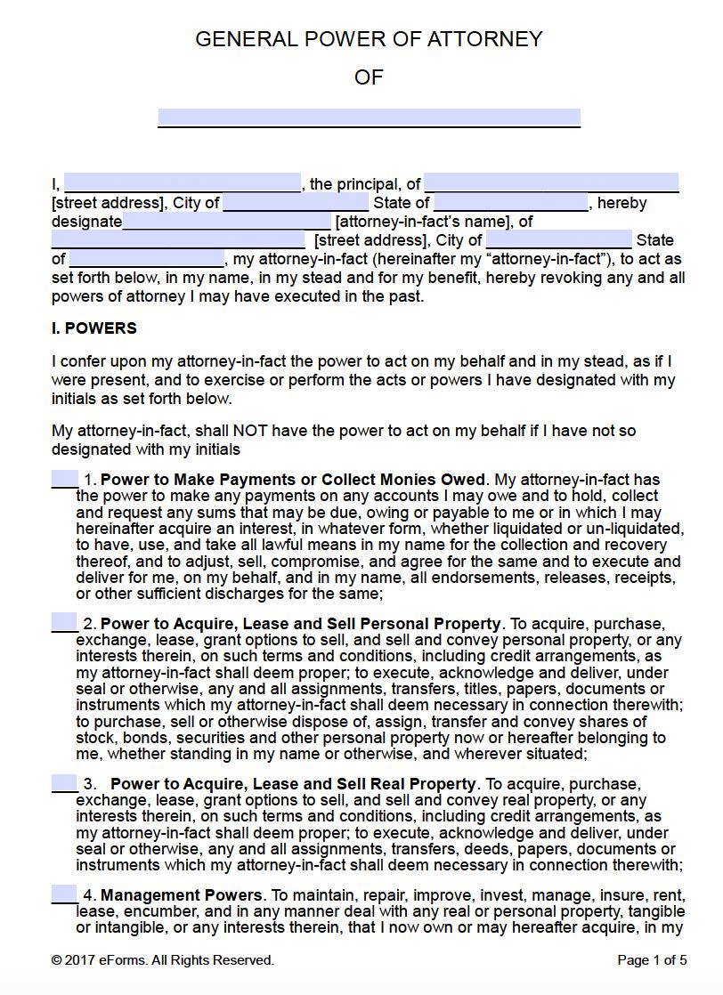 Free Printable Power Of Attorney Form Tn