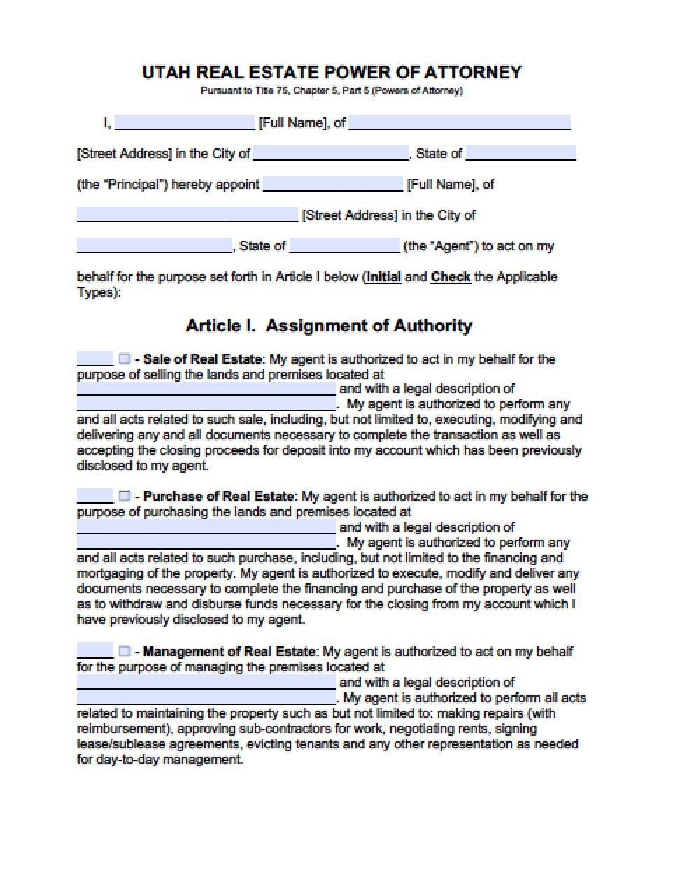 Free Printable Power Of Attorney Form Utah