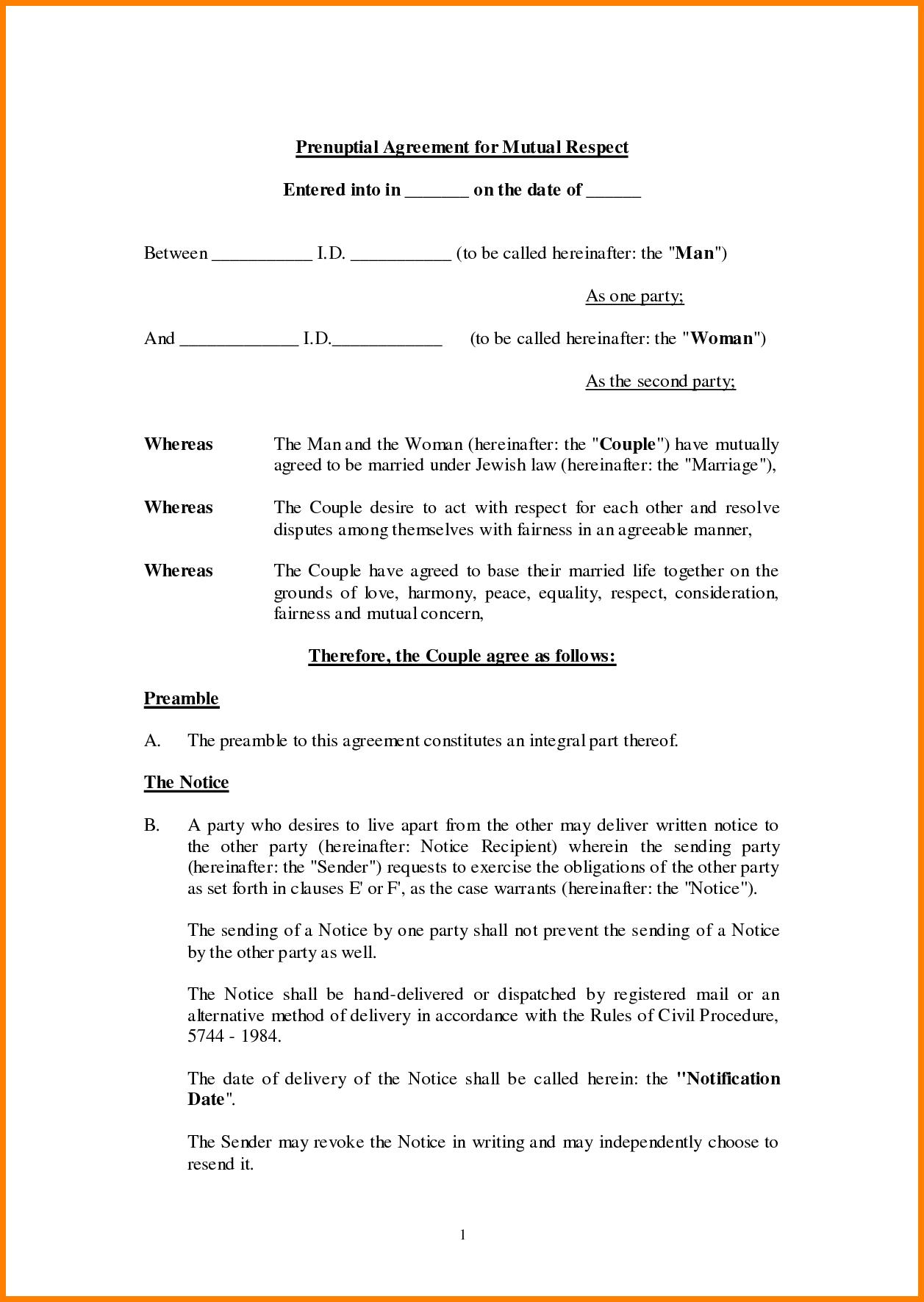 Free Printable Prenuptial Agreement Form Texas