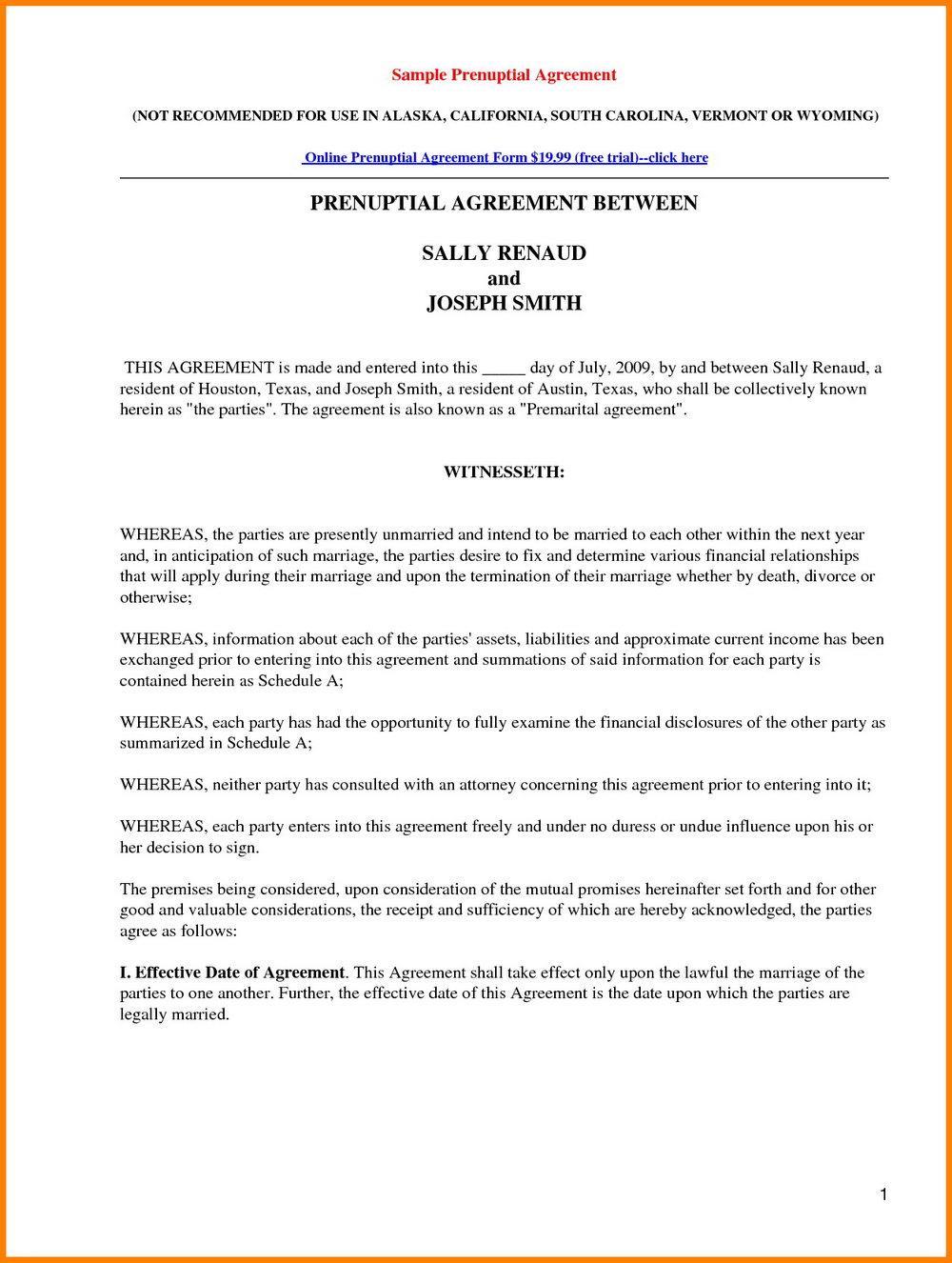 Free Printable Prenuptial Agreement Form Uk