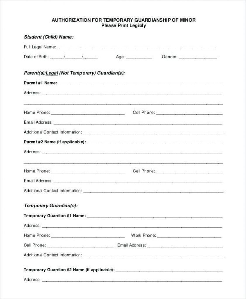 Free Printable Temporary Guardianship Forms