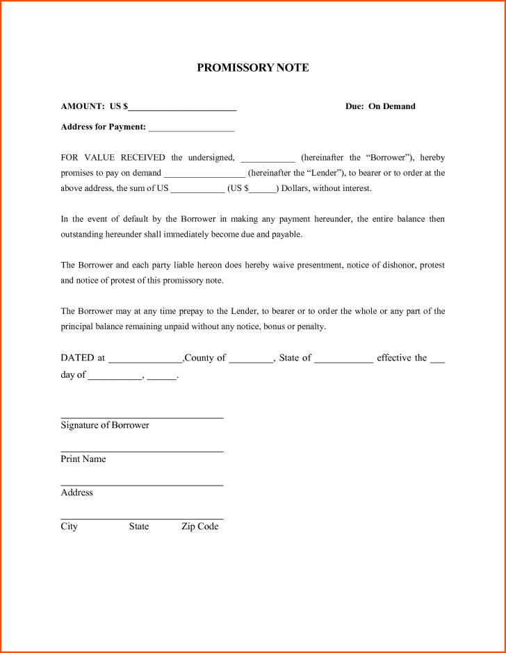 Free Promissory Note Form Sample