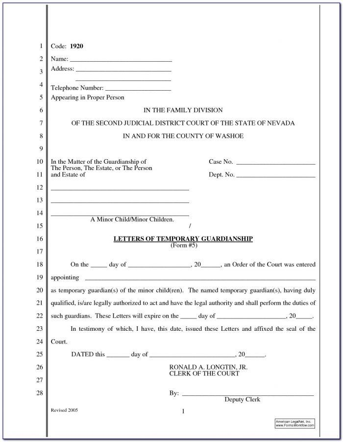 Free Temporary Guardianship Form Virginia