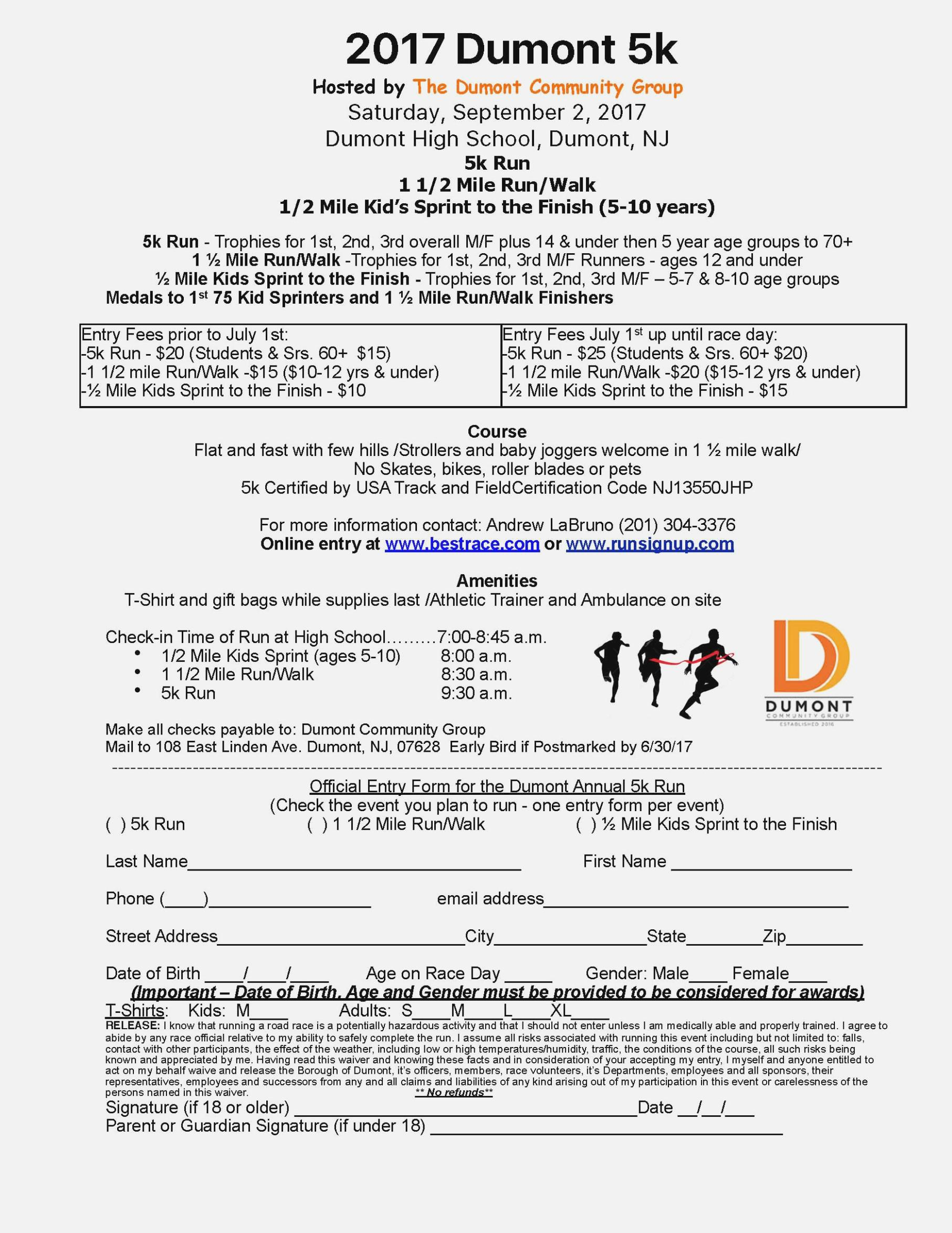 Generic 5k Registration Form
