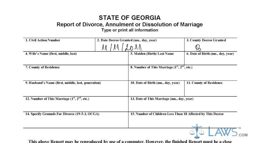Georgia Divorce Forms Cobb County