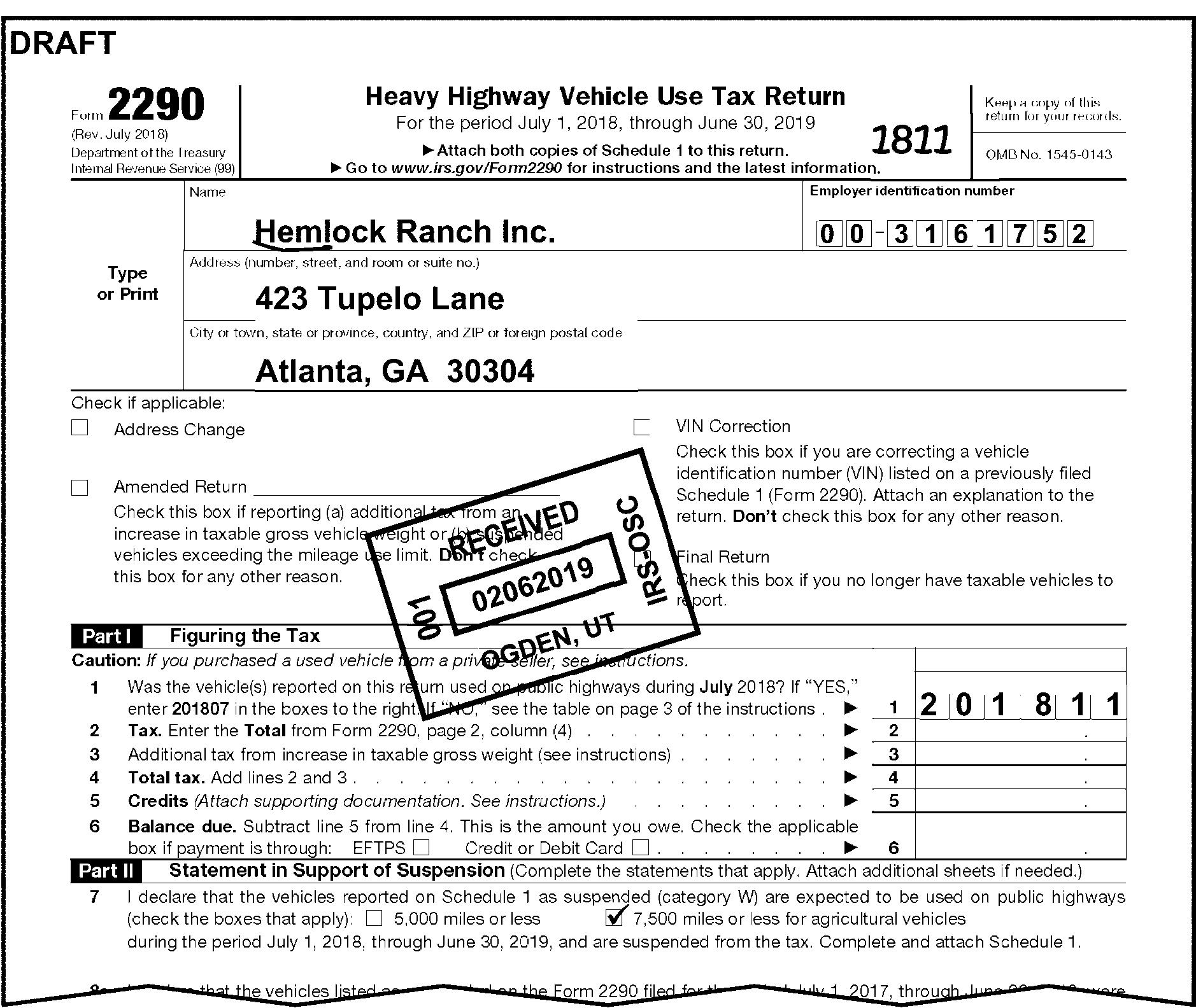Green Tax Form 2290