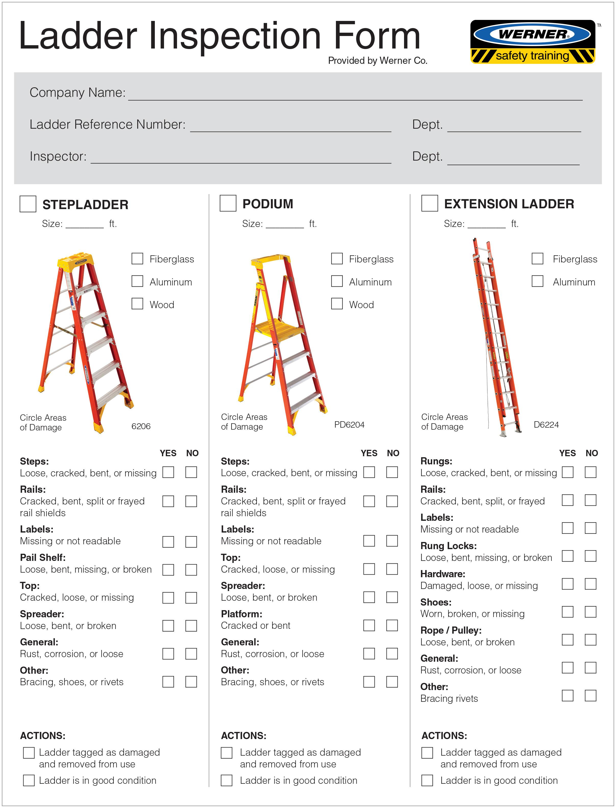Ground Ladder Inspection Form