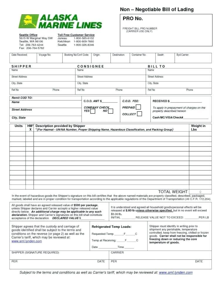 Hazmat Straight Bill Of Lading Short Form
