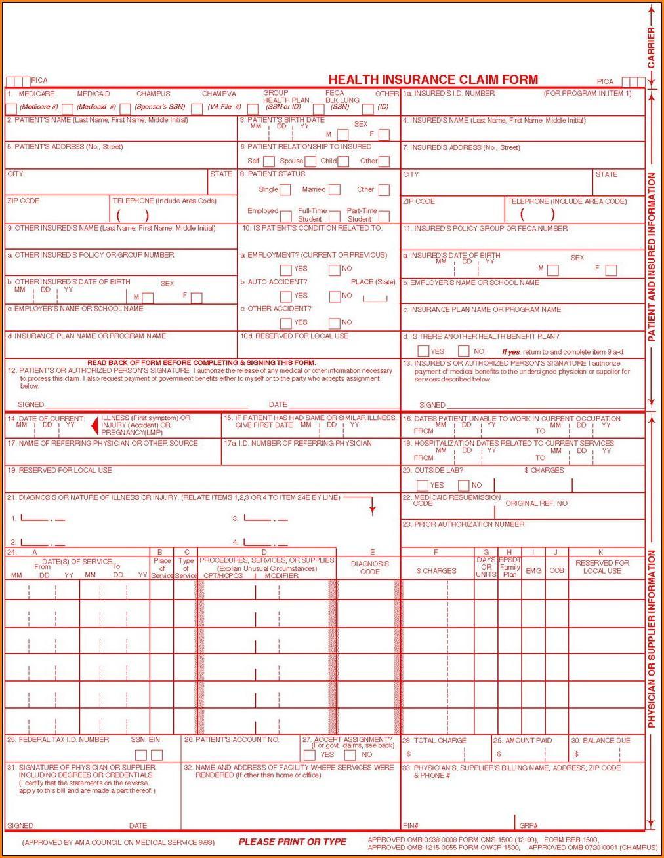 Hcfa 1500 Claim Form And Directions